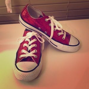 Converse Red Sparkly Glitter Low-top Oxford